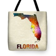 Polygon Mosaic Parchment Map Florida Tote Bag
