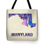 Polygon Mosaic Parchment Map Maryland Tote Bag