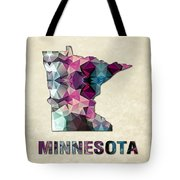 Polygon Mosaic Parchment Map Minnesota Tote Bag