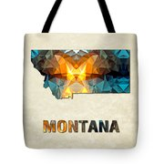 Polygon Mosaic Parchment Map Montana Tote Bag