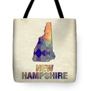 Polygon Mosaic Parchment Map New Hampshire Tote Bag