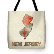 Polygon Mosaic Parchment Map New Jersey Tote Bag