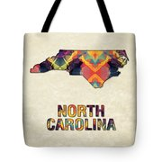 Polygon Mosaic Parchment Map North Carolina Tote Bag