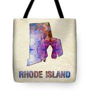 Polygon Mosaic Parchment Map Rhode Island Tote Bag