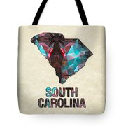 Polygon Mosaic Parchment Map South Carolina Tote Bag