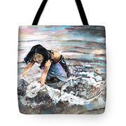 Polynesian Child Playing With Water Tote Bag