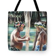 Polynesian Men With Spears Tote Bag