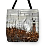 Ponce Inlet Lighthouse In Sea Grass Tote Bag