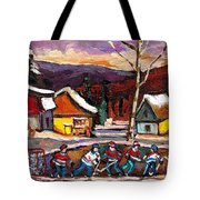Pond Hockey Birch Tree And Mountain Tote Bag