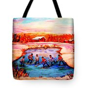 Pond Hockey Game By Montreal Hockey Artist Carole Spandau Tote Bag