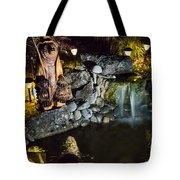 Pond Waterfall And Chuck The Bear Tote Bag