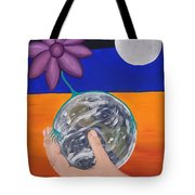 Pondering Creation Hand And Globe Tote Bag