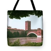 Pont Scaligero On Adige River Tote Bag
