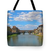 Ponte Vecchio Over The Arno River At Florence Italy Tote Bag