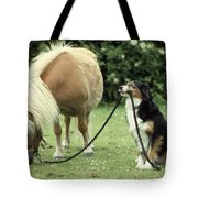 Pony With Lead Rope Held By Sitting Dog Tote Bag
