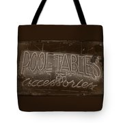 Pool Tables And Accessories - Vintage Neon Sign Tote Bag