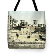 Poor Suburb Of The City Oil Painting On Burlap Tote Bag