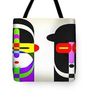 Pop Art People Row White Background Tote Bag