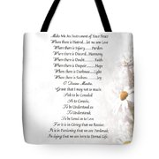 Pope Francis St. Francis Simple Prayer Daisies Tote Bag by Desiderata Gallery
