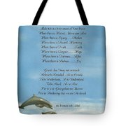 Pope Francis St. Francis Simple Prayer Dance Of The Dolphins Tote Bag by Desiderata Gallery