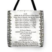 Pope Francis St. Francis Simple Prayer Faith On Fleury Tote Bag