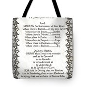 Pope Francis St. Francis Simple Prayer Fleur Tote Bag by Desiderata Gallery