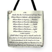 Pope Francis St. Francis Simple Prayer Tote Bag by Desiderata Gallery