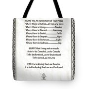 Pope Francis St. Francis Simple Prayer Parched Leaf Tote Bag by Desiderata Gallery