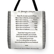 Pope Francis St. Francis Simple Prayer Peace On Parchment Tote Bag