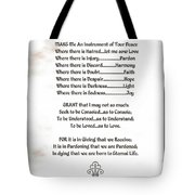 Pope Francis St. Francis Simple Prayer Prayer For Peace Tote Bag