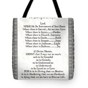 Pope Francis St. Francis Simple Prayer Scrolling Faith Tote Bag