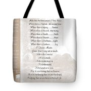 Pope Francis St. Francis Simple Prayer St. Teresa Tote Bag by Desiderata Gallery