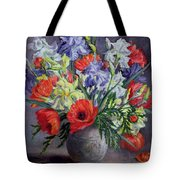 Poppies And Irises Tote Bag by Anthea Durose