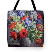 Poppies And Irises Tote Bag
