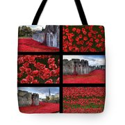 Poppies At The Tower Collage Tote Bag