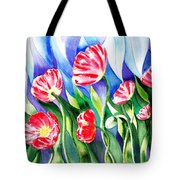 Poppies Field Square Quilt  Tote Bag