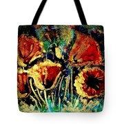 Poppies In Gold Tote Bag by Zaira Dzhaubaeva