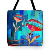 Poppies On Blue 1 Tote Bag