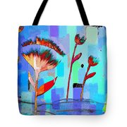 Poppies On Blue 3 Tote Bag