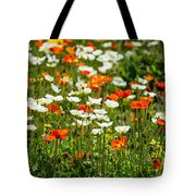 Poppy Fields - Beautiful Field Of Spring Poppy Flowers In Bloom. Tote Bag