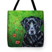 Poppy - Labrador Dog In Poppy Flower Field Tote Bag