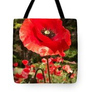 Poppy Watercolor Effect Tote Bag
