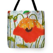 Poppy With Piper  In The Rain Tote Bag