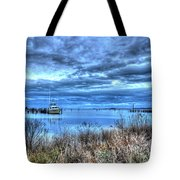 Poquoson Yacht On Stormy Morning Tote Bag