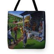 Porch Music And Flatfoot Dancing - Mountain Music - Farm Folk Art Landscape - Square Format Tote Bag