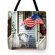 Porch With Flag And Wicker Chair Tote Bag