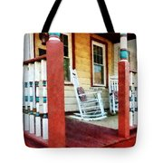 Porch With Red White And Blue Railing Tote Bag