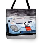 Porsche 917 Gulf Watercolor Tote Bag