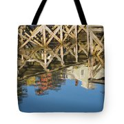 Port Clyde Maine Lobster Traps Reflecting In Water Tote Bag