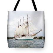 Juan Sebastian De Elcano Famous Tall Ship Of Spanish Navy Visits Port Mahon In Front Of Bloody Islan Tote Bag